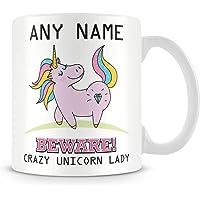 Unicorn Mug - Personalised Gift - Add Name and Text - Beware Crazy Unicorn Lady Cup