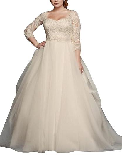 Dreamdress Women\'s Plus Size Half Sleeve Lace Tulle Wedding Dresses Ball