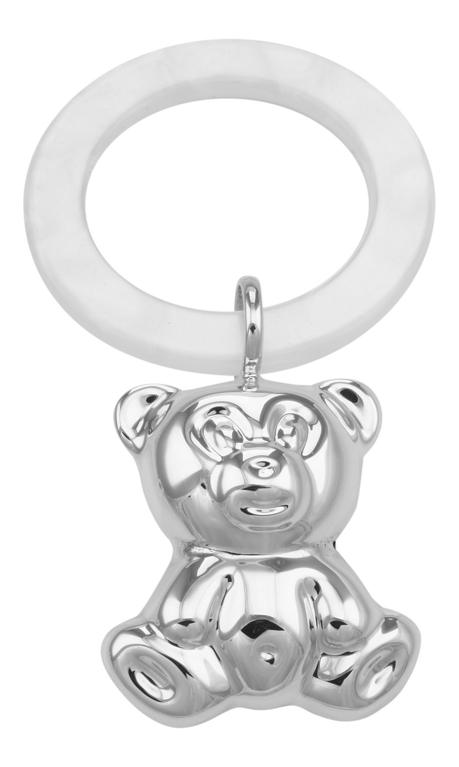 Sterling Silver Teddy Bear Baby Rattle Sim. Mother of Pearl Teething Ring