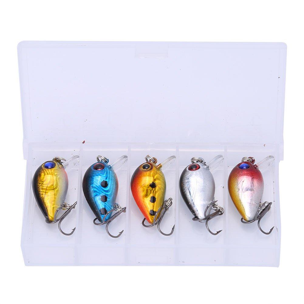 Zerone 5pcs 3cm Richiamo di Pesca Occhi Set 3D Sticky Olografica Esche da Pesca CrankBaits Artificiale Micro Durevole Durevole Richiamo Esca con Treble Hook Bait