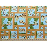 Giraffes Squares Frames Mother and Baby Giraffe Family Cute Playful Animals Safari Squares on Orange World of Susybee Zoe Kids Children's Cotton Fabric Print by the Yard (SB20061-430)