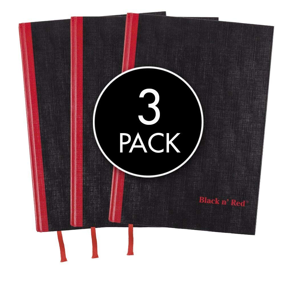Black n' Red Casebound Hardcover Notebooks, 11-3/4'' x 8-1/4'', Black/Red, 96 Ruled Sheets, 3-Pack (73601)