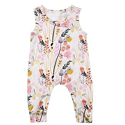 AFfeco Baby Infant Sleeveless Floral Rompers Toddler Girl Summer Jumpsuit Bodysuit
