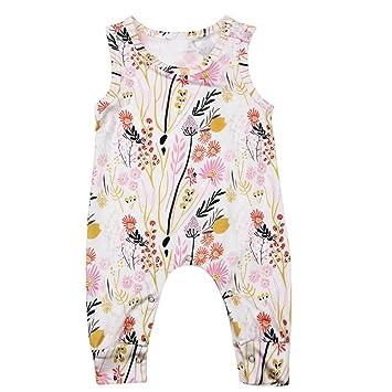 domybest para bebé sin mangas floral Pelele bebé niña verano Mono trajes Talla:12-18 M: Amazon.es: Bebé