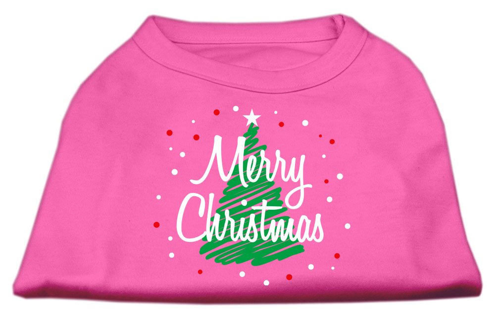 Dog   Cat   Pet Charms Scribbled Merry Christmas Screenprint Shirts Bright Pink XS (8)