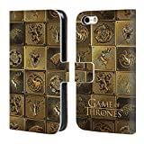 Official HBO Game Of Thrones All Houses Golden Sigils Leather Book Wallet Case Cover For Apple iPhone 5 / 5s / SE