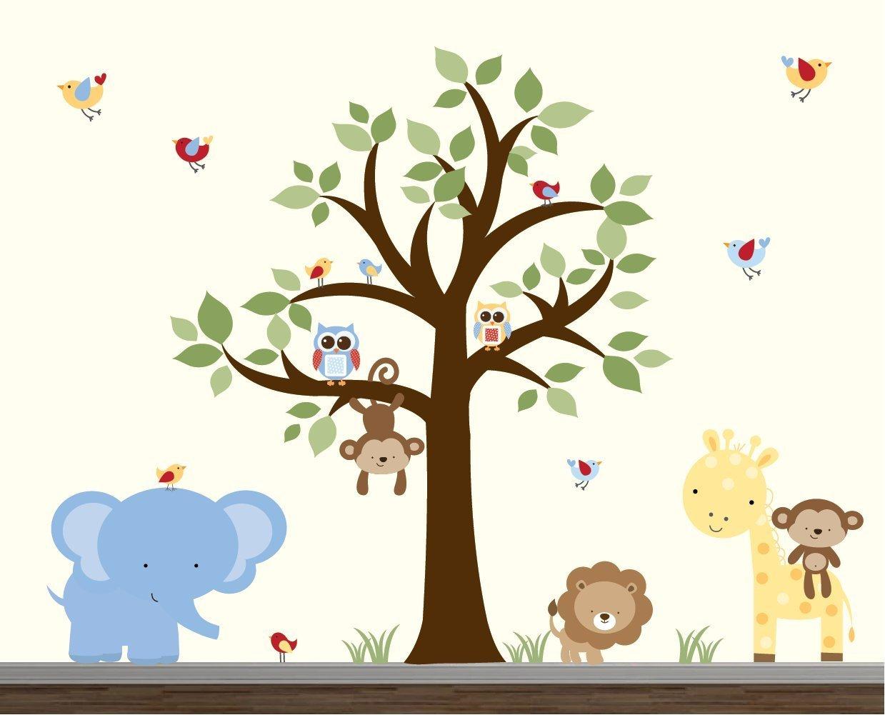 Jungle Wall Stickers-Jungle Wall Decal-Jungle Animal Decals-Wall Stickers-Nursery Wall Decor-Nursery Wall Decals-Elephant Wall Decals Art