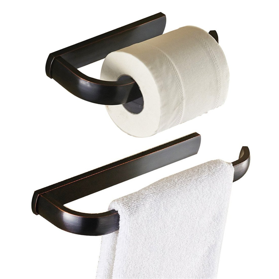 BigBig Home ORB Finish Brass Material Bathroom Hardware Set Half Open Toilet Tissue Paper Roll Holders Towel Ring Wall Mounted Convinient