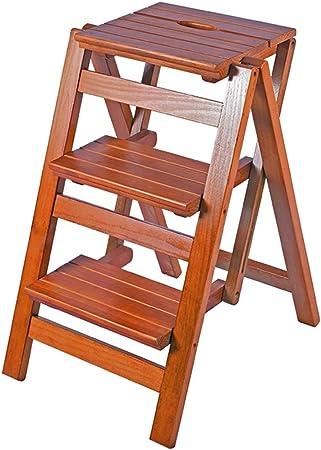 Hogar multifuncional plegable silla de la escala de madera sólida escalera interior Escalada Escalera del taburete de tres pasos de escalera de encargo del estante de personalización de tres capas esc: Amazon.es: