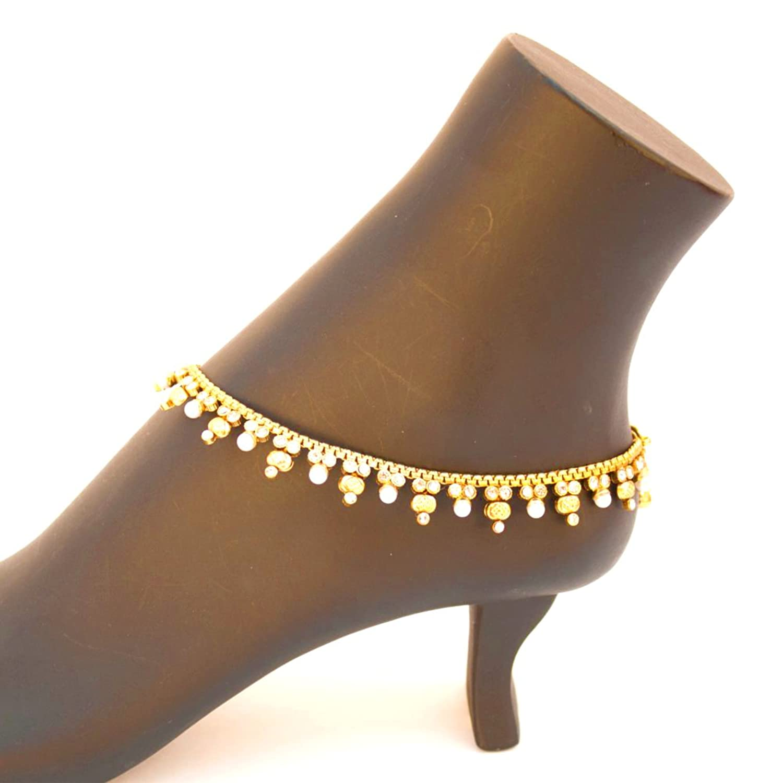 Amazon.com: Bridal Indian Pakistani Ethnic Gold Plated Payal ...