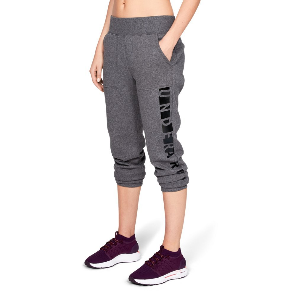 Under Armour Women's Rival Fleece Pant, Charcoal Light Heath (019)/Black, X-Small