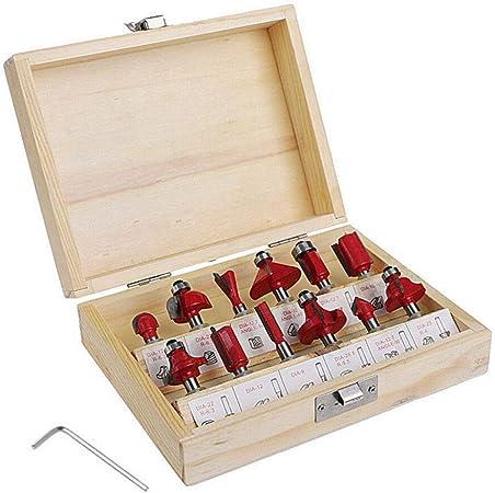 8mm tige fraise /à bois avec bo/îtier de rangement en bois pour portes tables 12 PCS Coffret de fraises /à d/éfoncer armoires etag/ères bois bricolage