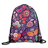 Artistic Flowers Seamless Drawstring Bags Portable Backpack Sport Daypack