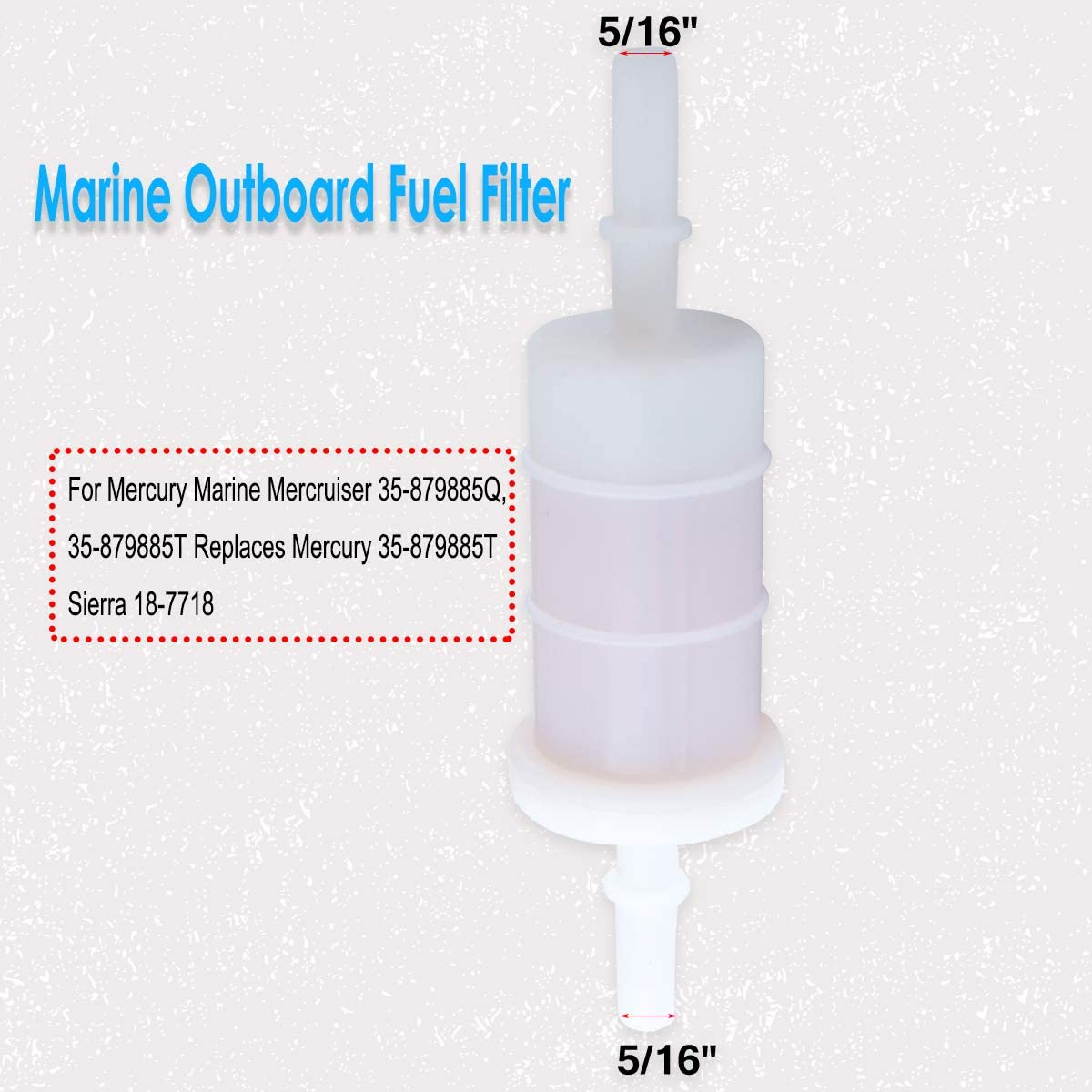 879885Q 5//16 Fuel Filter Replacement for Mercury and Mariner 4-Stroke Outboard 35-879885T 35-879885Q Sierra 18-7718 Pack of 2