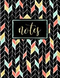 Notes: Coral, Mint & Gold Chevrons on Black: Notebook, Journal & Diary (Volume 8)