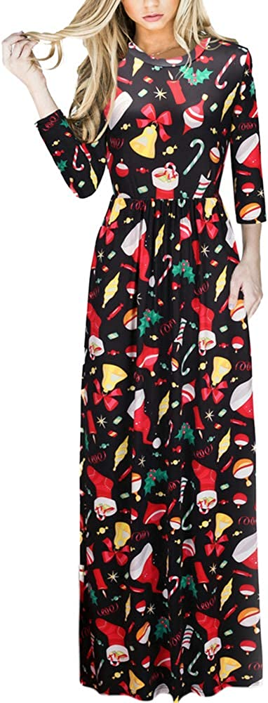 TALLA (EU50-52)3XL. Lover-Beauty Vestido Largo Floral Print Casual para Noche Fiesta Playa Fiesta Manga Larga Cuello Redondo Vestido Verano Cuello V Multicolor 4 (EU50-52)3XL