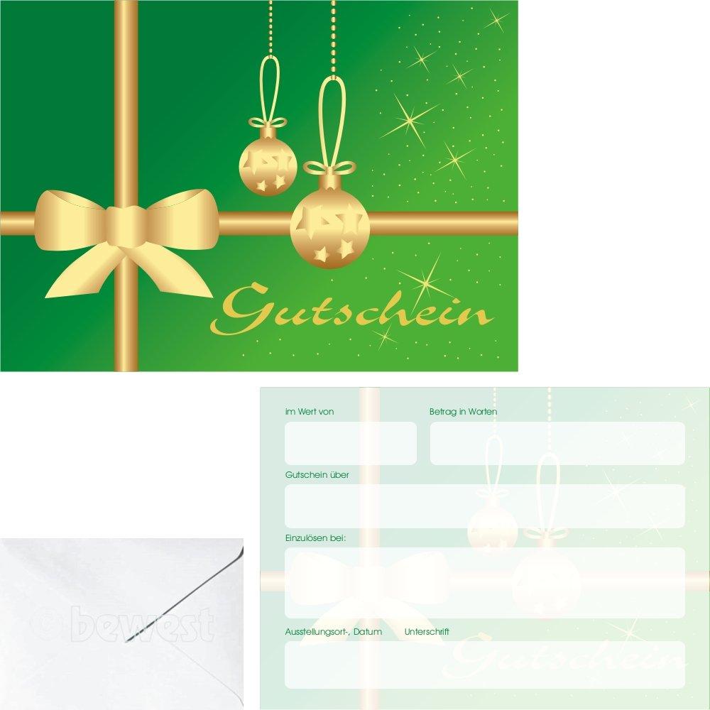 50 regalo Bonos Navidad diseño lazo en verde wgp5305 Incluye KUVERT: Amazon.es: Oficina y papelería