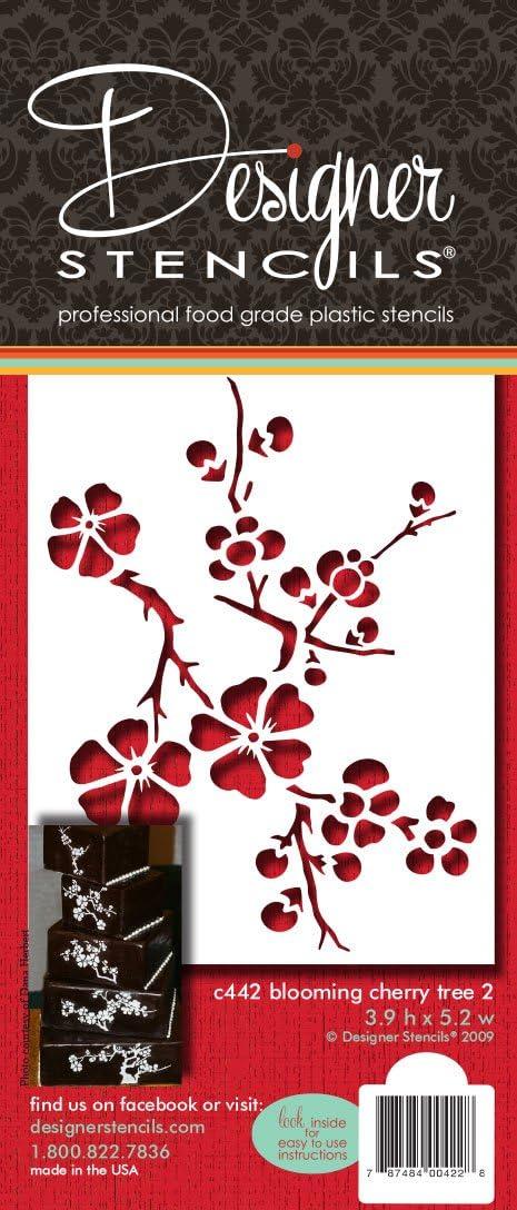 Designer Stencils C442 Blooming Cherry Tree Tier 2 Cake Stencil, Beige/semi-transparent