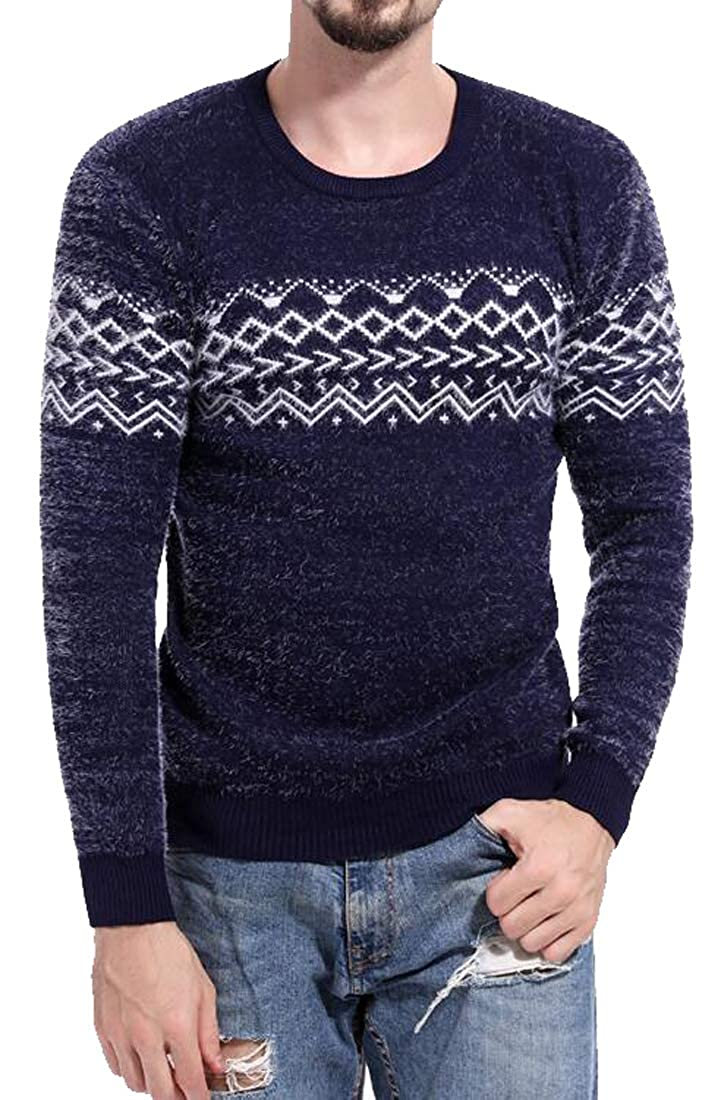 Heless Mens Knitted Casual Printed Crew Neck Fluffy Pullover Sweaters Jumper