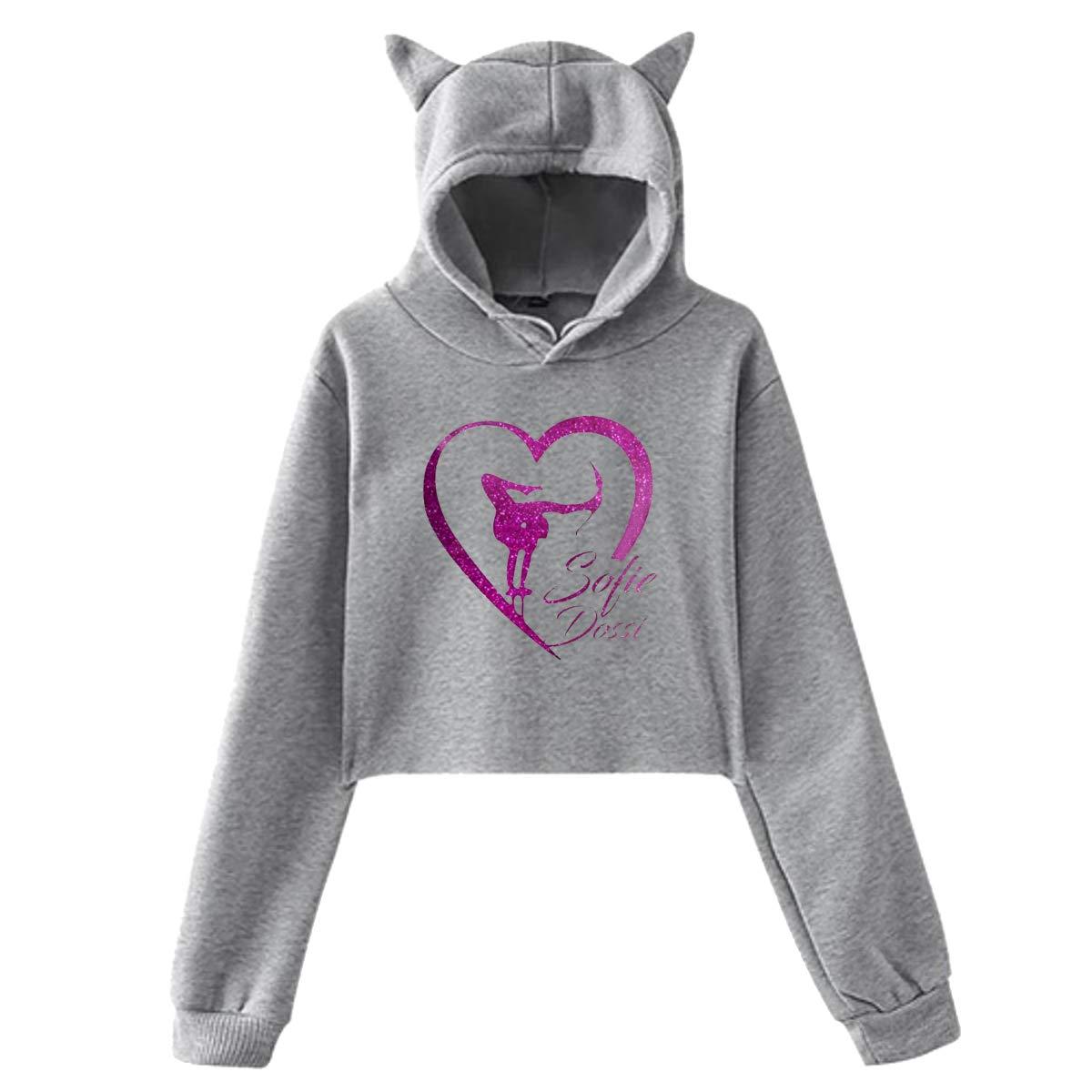 Gwendolyner Sofie Dossi Girl Cute Cat Ear Hoodie Sweater Lumbar Hooded Sweatshirt Black