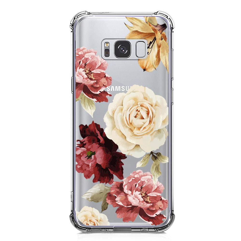 KIOMY Galaxy S8 Case, Crystal Clear Case with Design Rose Flowers Pattern Print Bumper Protective Shockproof Case for Samsung Galaxy S8 Flexible Soft ...