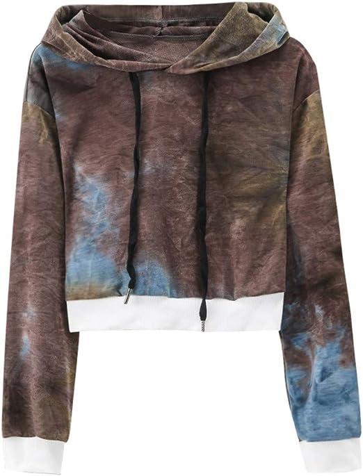 : Women Tie Dyeing Cropped Hoodies Sweatshirts