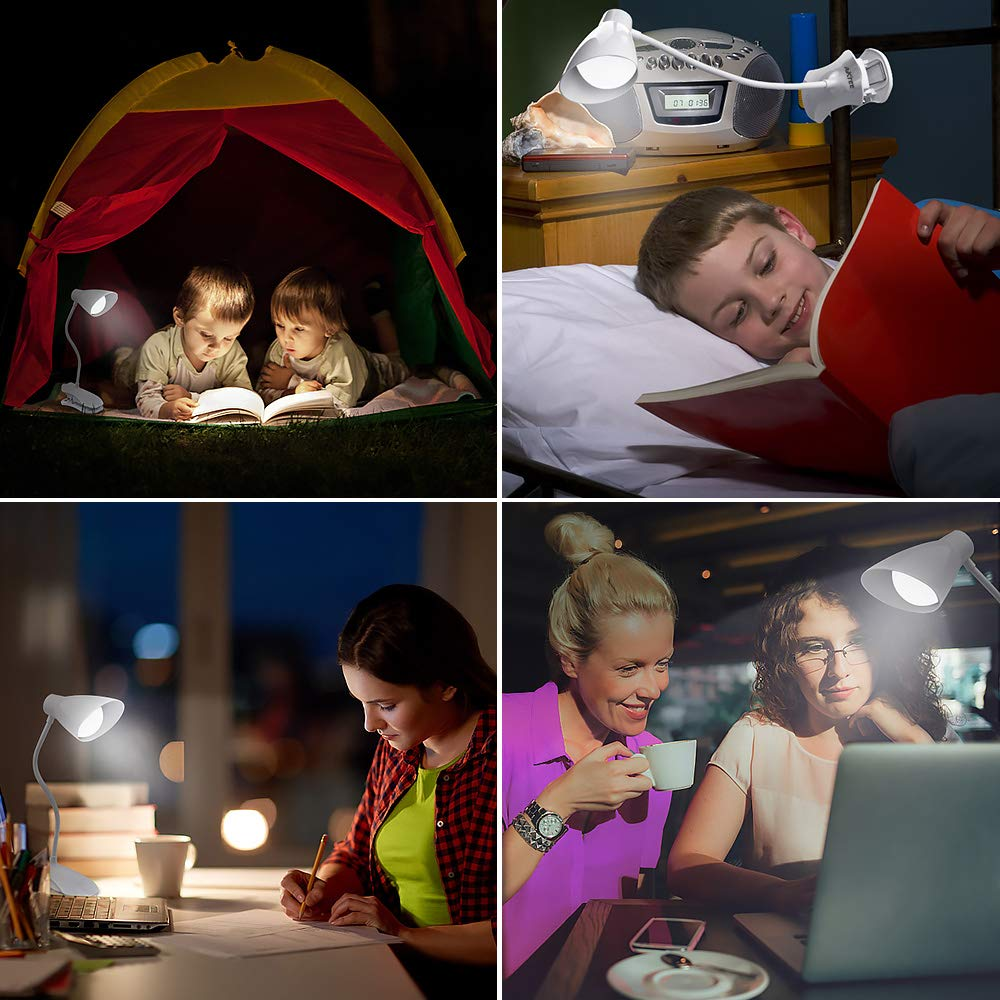 LED Clip On Light, Flexible Desk Lamp with USB Rechargeable Port Touch Sensor Book Light, 3 Brightness Levels Portable Reading Lamp of Eye Protection