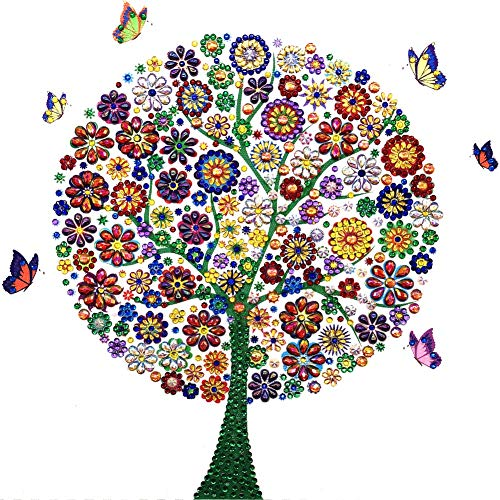 Anntool DIY 5D Diamond Painting Partial Special Shaped Diamond Painting Cross Stitch Crystal Rhinestone Embroidery Canvas Painting by Numbers Kit Colorful Tree Pattern for Home Wall Decor ()