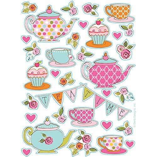 Creative Converting Tea Time Party Stickers (8 sheets) - Tea Party Sheet
