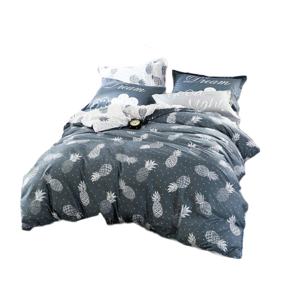 Mucalis Queen Cotton Duvet Cover Set for Boys Girls Grey Reversible Pineapple Pattern Full Duvet Cover with 2 Pillowcases,Bedding Set with Zipper Closure 4 Corner Ties