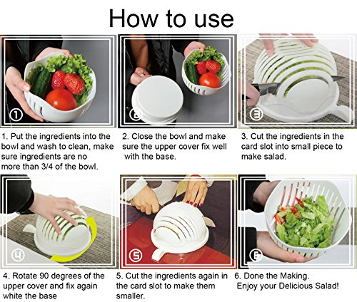 Salad Cutter Bowl + FREE 3 in 1 Avocado Peeler Tool  Fruit & Vegetable Quick Chopper Set, Veggie Slicer   Can Be used as Strainer and Cutting Board   Dishwasher Safe, BPA Free, Food Grade Material by toshi's kitchen (Image #7)
