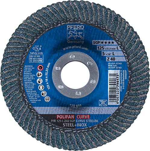 PFERD Polifan Abrasive Flap Disc, Large Radius, Radial Shape, Round Hole, Phenolic Resin Backing, Zirconia Alumina, 5