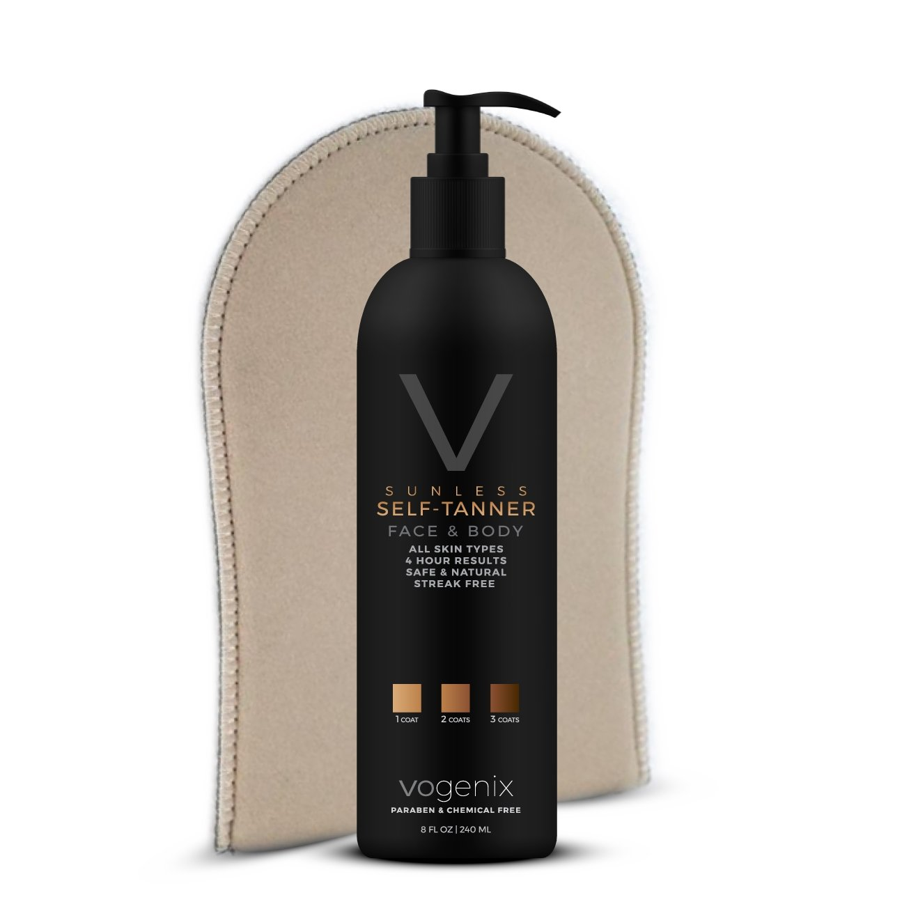 The Best Self-Tanner by Vogenix - All Natural & Organic - Free Application Mitt