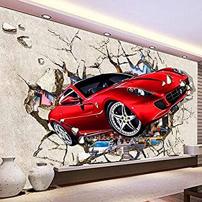 Custom Mural Wallpaper 3D Red Car Broken Wall Photo