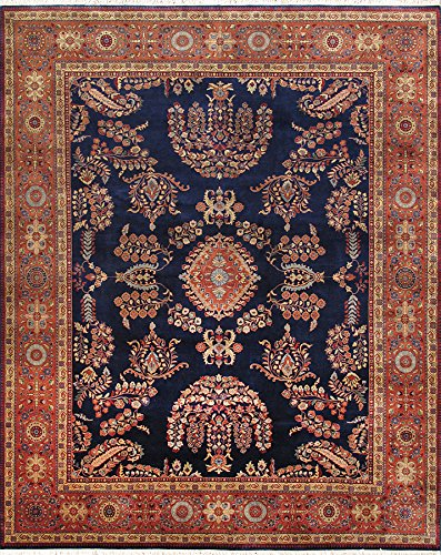 Navy Area Sarouk Rugs (Pasargad Carpets PS-2 4X6 nvy/rst Sarouk Collection Hand Knotted Lamb's Wool Area Rug, 4' x 6', Navy)