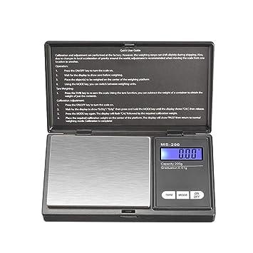 ZHANGYUGE Báscula de Cocina Digital electrónica de Bolsillo Escalas Herramientas para joyería de Oro pesan Equilibrio Regla,200g 0,01g: Amazon.es: Hogar