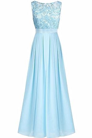 YiZYiF Elegante Damen Kleid Spitzen Abendkleid Cocktailkleid Partykleider  Festliche Hochzeit Brautjungfernkleid Chiffon Langes Maxi Kleider Gr. 36-46   ... 0d8ecd0f1e