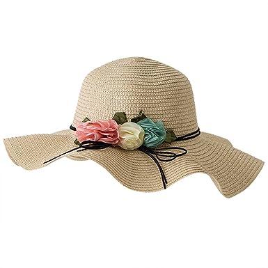 RYTEJFES Sombrero Flor Tricolor UPF 50+ Anti-UV Mujeres ...