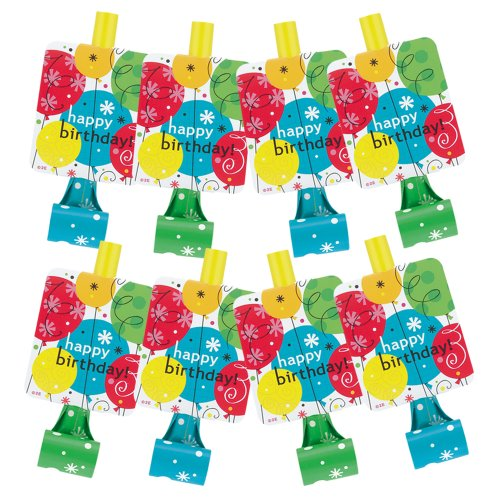Breezy Birthday Party Blowers, 8ct
