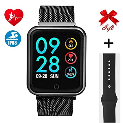 RanGuo Montre Connectée, Bluetooth Smartwatch IP68 Imperméable Smart Watch pour Femme Homme Enfant Sports Moniteur