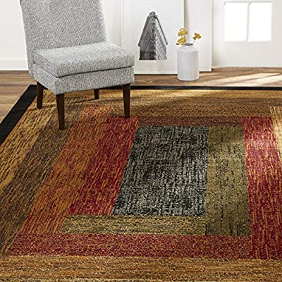 """Home Dynamix Vega Modern Area Rug, Geometric Black/Brown/Red 5'2""""X7'2"""" - MID-CENTURY MODERN INSPIRED STYLE: The layered rectangle design is true to the mid-century modern style with earth tone hues of black, brown and crimson red. The Royalty Vega collection will easily complement your existing home décor. AVAILABLE IN A VARIETY OF AREA RUG SIZES: 9 x 12 rugs, 8x 10 rugs, 6 x 9 rugs, 5 x 7 rugs, 3 x 5 rugs, 2 x 3 rugs, 2 x 7 runner rugs, round area rugs SOFT AND STRONG FIBERS: Machine woven construction of durable polypropylene yarns provides a cozy surface for your comfort needs while resisting in high traffic areas. - living-room-soft-furnishings, living-room, area-rugs - 61EW6R2iPKL. SS400  -"""