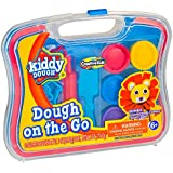 KIDDY DOUGH Dough On The Go – Dough Activity Kit with Modeling Tools – Includes 6 Colors of Dough, 7 Cutters, 1 Knife, 1 Rolling Pin & Travel Carrying Case for Endless Design Possibilities