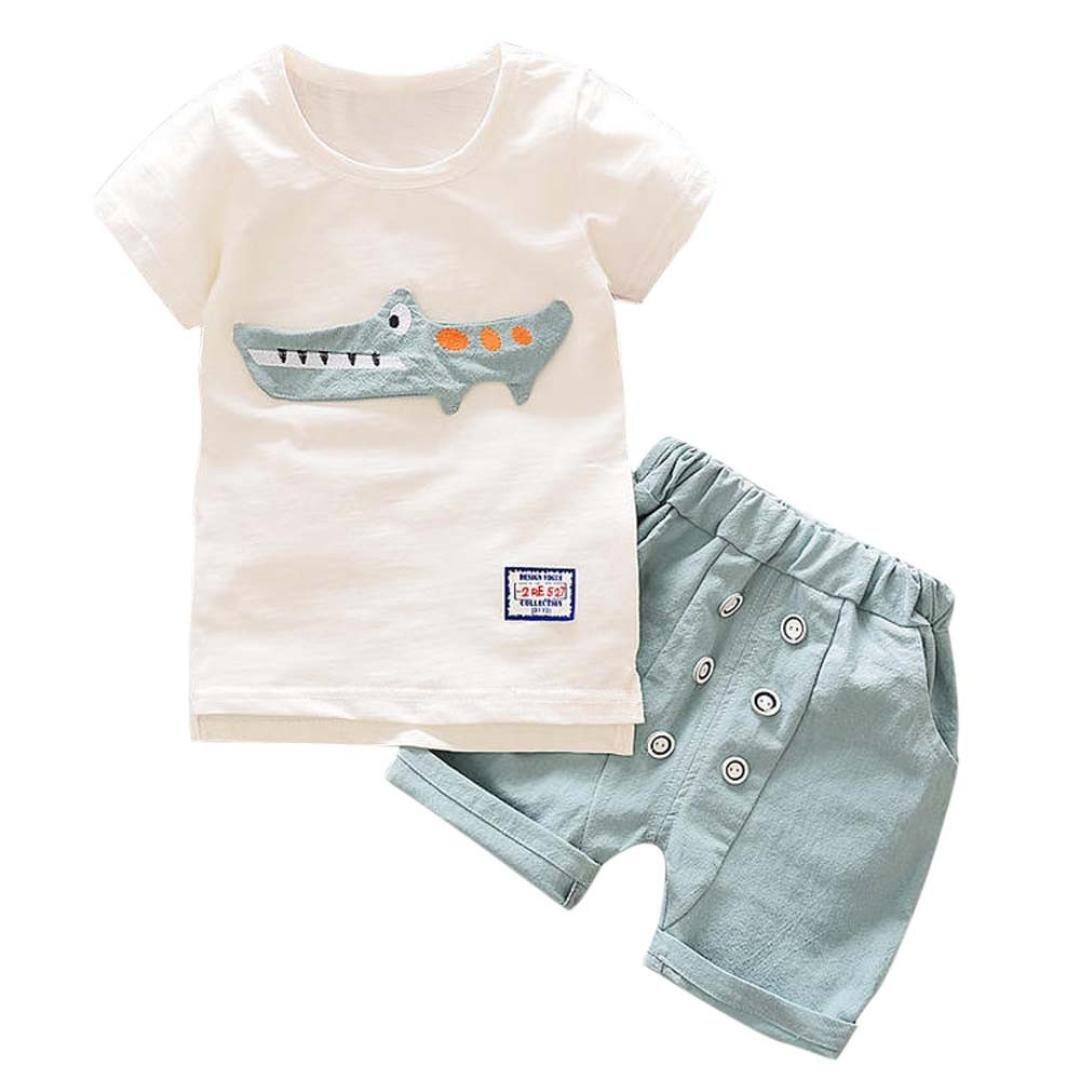 UOMOGO® Top Bambino Ragazzi Camicia Stampa Coccodrillo T-Shirt Cime + Pulsante Pantaloncini Abiti Set 1-5 Anni