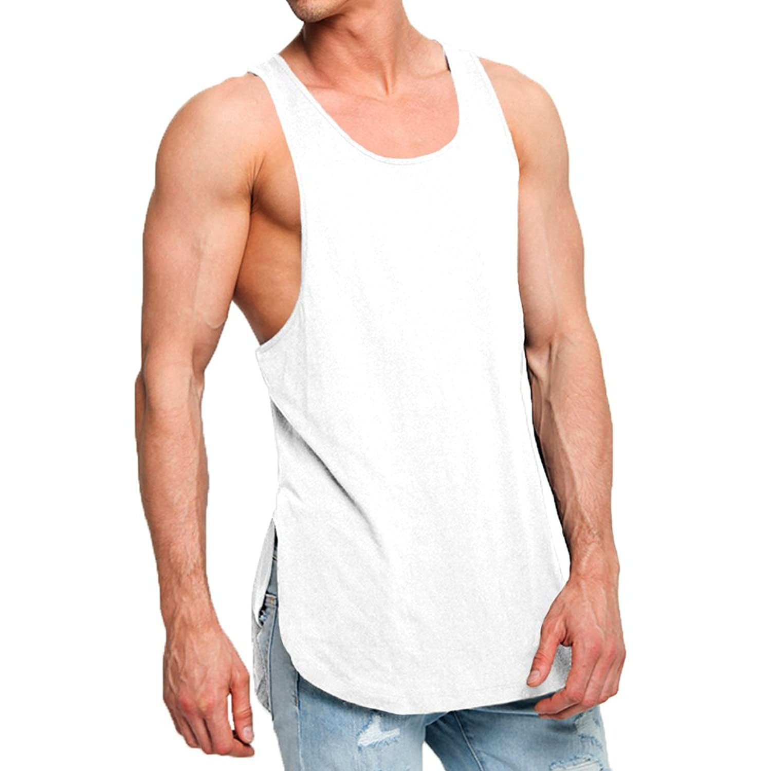 f7e9a5620cfd OA 3 Pack Men's Super Longline Muscle Fit Vests Tank Tops at Amazon Men's  Clothing store: