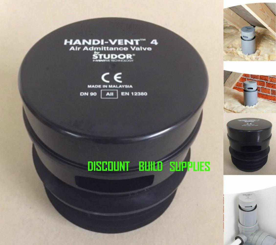 Studor Black 3' / 75mm - 4' / 110mm Push Fit Handi Vent 4 Compact Air Admittance Valve A11 Rated EN12380