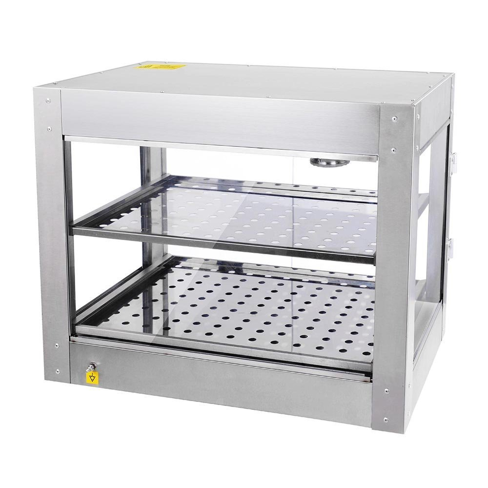 AMPERSAND SHOPS Commercial Food Warmer Pizza Pretzel Empanada Storage Display Cabinet (2-Tier)