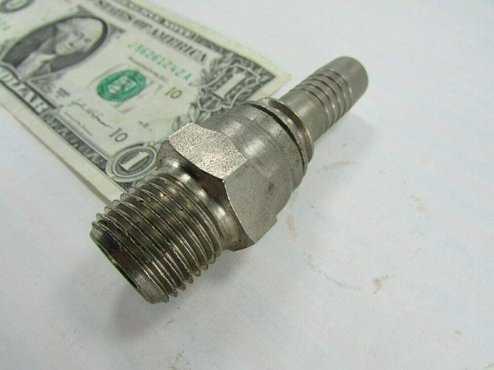 1//2 NPT Male x 1//2 ID Hose Barb Magnetic Stainless Hydraulic Adapter Fittings