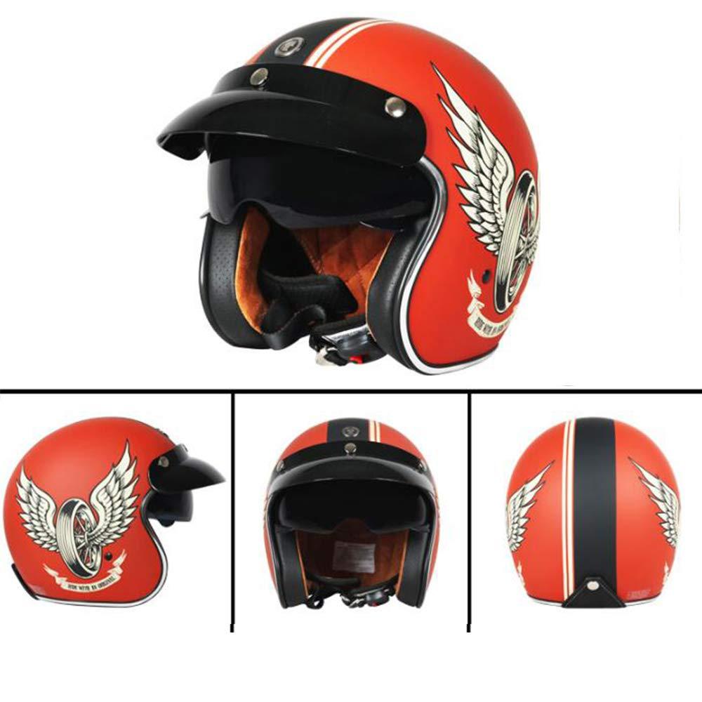 S, M, L, XL, XXL ,M Hecho a Mano Casco Abierto para Motos Casco Harley con Personalidad Certificado por Dot y Gafas Protectoras Desmontables con Filtro bucal