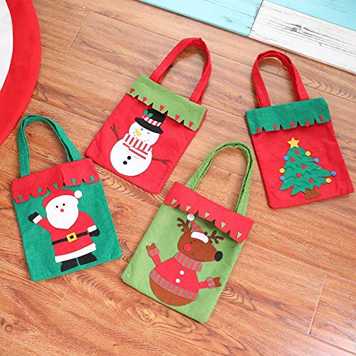 (Christmas gift bag candy bag hand-stitched, elk + old man + tree + snowman)