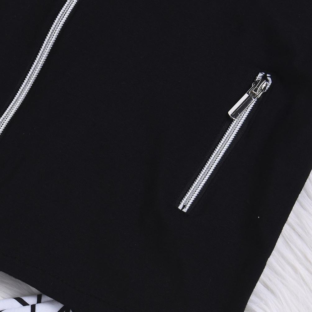Sagton/® Tops+Shorts Set Cool Boys Black Vest with Zipper Printed Shorts for Summer